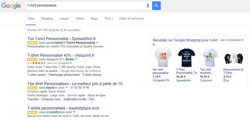 adwords 4 top résultats
