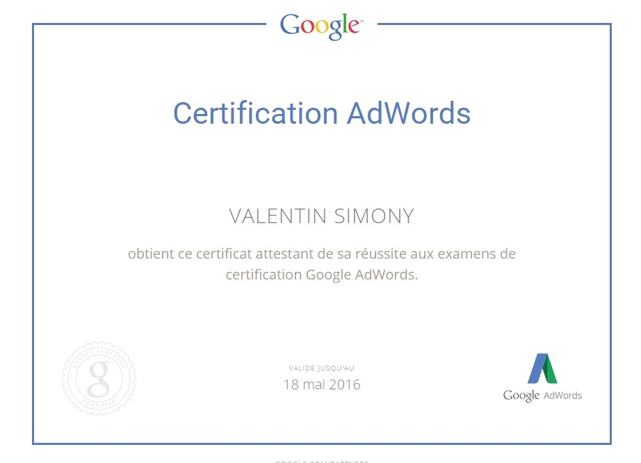 valentin simony certification adwords