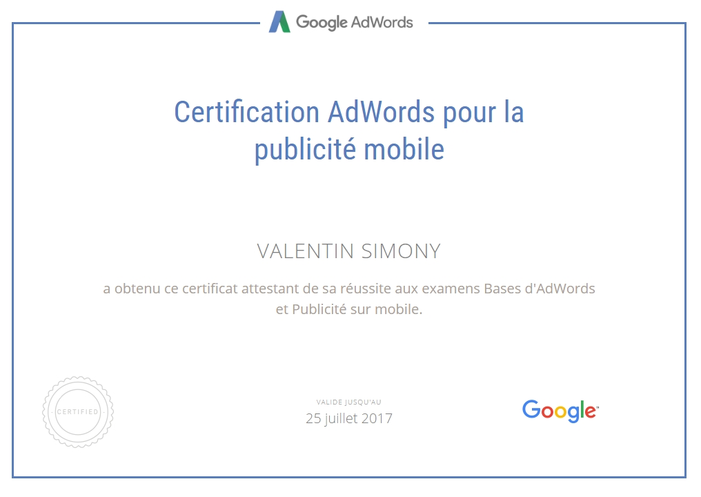 certification adwords mobile valentin simony