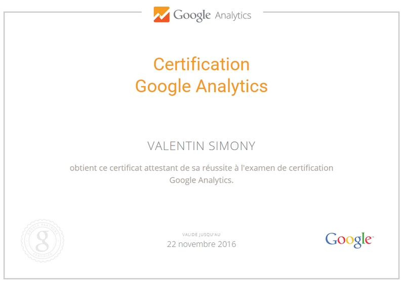 certification analytics valentin simony